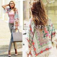 NEW! Fringe Floral SHAWL KIMONO JACKET Tops Cardigan Loose Tassels Shirt Blouse