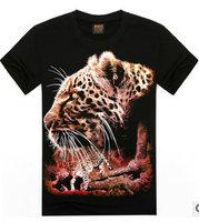 High Quality 2015 Summer Basic Tee Men Women Personality Streetwear Cotton Fabric T Shirt Leopard Skull Casual Hip Hop T-Shirt