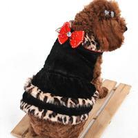 Pet Clothing Fur Coats Red Bowknot Leopard Print Winter Coat 2 Color Fleece Spring 2014 Dog Dress Princess S M L XL