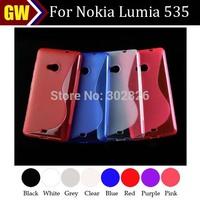 200pcs/lot Free Shipping Slim Soft Gel Skin Transparent S Line TPU Skin Case Cover for Nokia Lumia 535