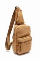 2014 Khaki Men's Canvas Leather Messenger Bag Casual Shoulder Bag Multi-Use for Ipad mini 3 Free Shipping