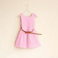 2014 summer new casual dress sleeveless dress belt openwork lace dress cute girl dress vestidos
