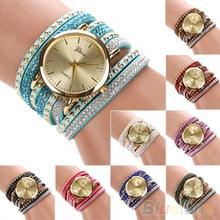 Women s Geneva Faux Suede Rivets Rhinestone Multi Layer Wrap Bracelet Analog Wrist Watch 2D8R