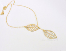 2015 Brand Designer Free Shipping Women Fashion Simple 2 Leaves Choker Necklace Collar Statement Necklace Women