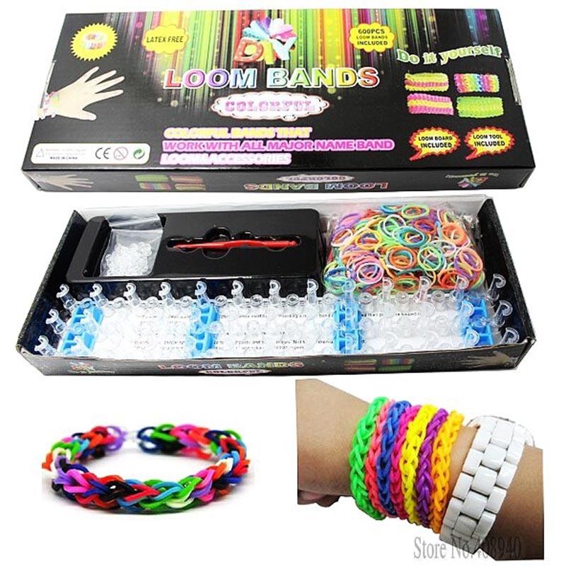 Loom Bands Kits Loom Rubber Bands Set Loom Box Colorful Rubber Bands Loom Bands Set Gift for Bracelet Bangle DIY Children Toy(China (Mainland))
