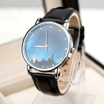 2014 мода звезда луна метеор серии леди наручные часы кожаный ремешок аналоговые часы женщины часы женские часы подруга платье часы w7018