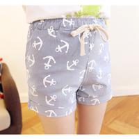 2015 Spring linen Cotton Short Pants Elastic waist Anchor Print pants casual pants straight pants loose trousers B46512