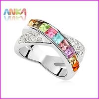 Fashion Solitaire Engagement Wedding Ring Set 18K GP Made With Swarovski Elements #96679