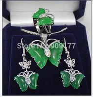 Green Jade Butterfly Earring Pendant Ring size 7 8 9# Wholesale silver hook Fine Jewelry sets