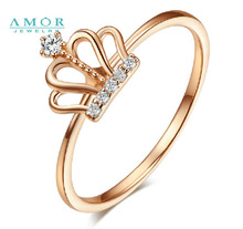 AMOR   BRAND THE FLOWER OF LOVE SERIES 100%  NATURAL DIAMOND 18K ROSE GOLD RING JEWELRY  JBFZSJZ278