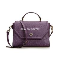 Women's Ostrich Veins Genuine Cowhide Leather Bag Vintage Handbag Shoulder Bag