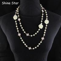 New Design Fashion Elegant 135CM Pearl Rose Bead Chain Statement Rose Sweater Long Chain Necklace Women Pendant Jewelry Item,C88