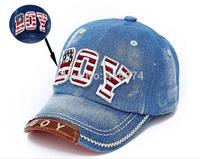 Hot Selling Retail Kids Baseball Caps Baby Has & Caps Fashion Letter Boy Jean Denim Cap Baby Boys Girls Sun Caps Free shipping