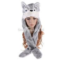Cartoon Plush Animal Husky Wolf Faux Fur Hat Women Men's Children Costume Beanie with Long Scarf Mittens Gloves 3 in 1 Function