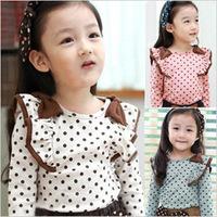 2014 NEW fashion Korean spring Children girls Dot bow cotton bottoming shirts babys clothing kids Tops Tees shirts Free shipping