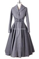 2014 Winter European France Elegant Simple Style Long Overcoat Turn-down Collar Slim Fit Bow Shape Waist Band Black Gray Color