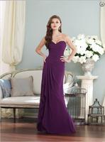 New Arrival Flare Purple Sweetheart Floor Length Chiffon Sheath Column Pleating Bridesmaid Dress 2015