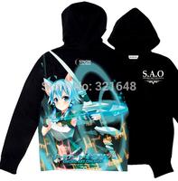 Anime Sword Art Online Excalibur Sinon Black Hoodies Long Sleeve Sweatshirts