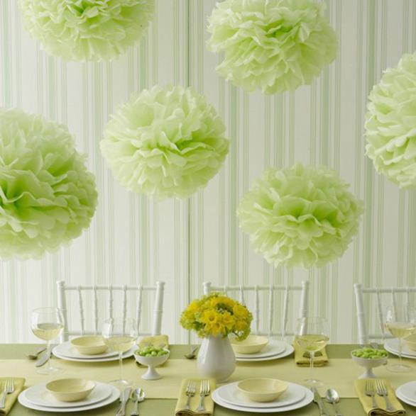 5pcs 6 Inch Tissue Paper Pom Poms Flower Balls Wedding Party Shower Decor Wedding Flower Ball Paper Pom Poms(China (Mainland))