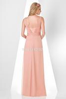 Inform Newly Design Hand Flower Ruffle Scoop Floor Length Chiffon Green A Line Bridesmaid Dress 2015