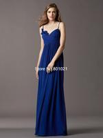 Fashionable Refine Royal Blue Spaghetti Strap Sweep Train Chiffon Pleating Princess Bridesmaid Dress 2015