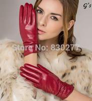 GSG   Ms.    Short paragraph sheepskin leather gloves warm wind velvet glove   IGSSBW13111