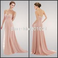Top Sale Elegant Sweetheart Crystal Long Court Train Pink Chiffon A Line Bridesmaid Dresses 2015