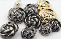 fashion 10 pieces gold/black 20mm jeans buttons mens's rose shape overcoat/out wear buttons nmb111