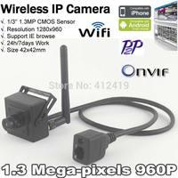 New Korea technology Mini Size 42x42mm Hidden SNO Onvif HD 1.3MP Wifi IP Camera Wireless H.264 P2P Plug Play 1280*960P