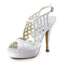 Free Shipping by  EP11063-PF Ivory Silver  Peep Toe Platform Cut-outs Weaving Narrow Band Platform High Heel Satin Bridal Sandal