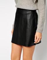 2015 Spring Women Fashion Sexy Mini Faux Leather Black Skirt Desigual Cute Stylish A Line Ladies' Skirts Lady Office Work Wear