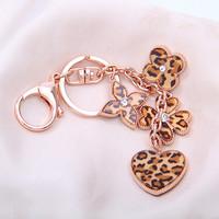 Novelty Christmas Gift 2015 Keychain Creative Leopard Clover Key Chain Charms women Car Trinket  Key Holder Wholesale