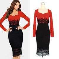 The European station ebay2014 fashion hot ladies square collar long sleeved knee bag hip lace dress dress