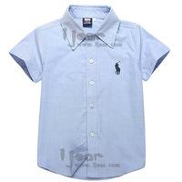 CS34 blue color casual 2015 boys shirts 2-7 age short sleeve camisetas de marca infantil boy shirt free shipping 5pcs/ lot