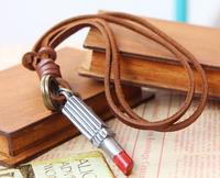 Vintage Leather Long Pendant Necklaces  with Lipstick Pendant