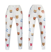 New Emoji style print pants funny cartoon sweatpants black & white thicken long joggers trousers sportswear female clothes sale