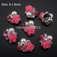 10pcs 3d flower rose nail art glitter rhinesotne nail strass alloy nails supplies AM275