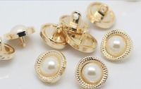 10 pieces fashioin metal 13mm round women's shirt overcoat jeans buttons white pearl beads nmb119