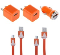 5 in 1 Charger set for Mobile Phone-Content 2 Pcs 5V/0.8A Wall Charger,2 Pcs Charger Cable for Samsung ,1 Pcs car charger.Orange