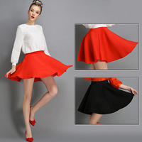Casual Solid Space Cotton Ball Gown Mini Short Skirt For Women Red Black New Arrival Spring 2015