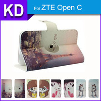 360 Degree Rotate Stand Cool Case PU Leather Universal Cartoon Case + Free Gift For ZTE Open C