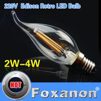 Foxanon Brand E14 LED Lamp Filament Glass Housing Blub 220V 2W 4W Warm White Light Brightness 360 Degree Retro Candle Chandelier
