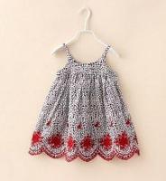 2015 Summer New children princess dress girls Embroidered suspender dress kids clothes A5467