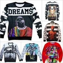 Alisister fashion men/women's 3D sweatshirts America hiphop rock star Biggie Smalls character Tupac 2pac print pullover hoodies(China (Mainland))