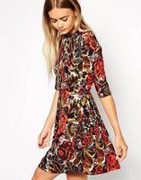 2015 Women Half Sleeve Beading O Neck Sexy Vintage Flower Print A Line Chiffon Dress Desigual Lady Fashion Mini Party Dresses