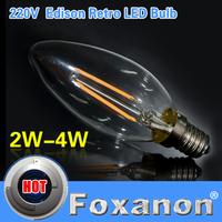 Foxanon Brand LED Filament E14 Light Glass Shell 220V 2W 4W Blub Lamp Warm White Sapphire Chip Retro Candle Chandelier Lighting