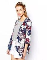 2015 Spring New Women Three Quarter Sleeve Chiffon Flower Print Vintage Kimono Desigual Femininas Lady Tropical Elegant Kimonos