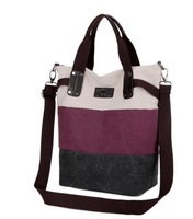Student Bag Shoulder Bag Casual Handbag Women's Nappy Bag Big Block Color Striped Bag All-match Canvas Bag Free Shipping