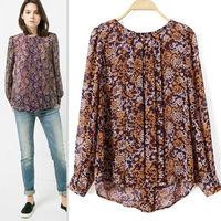 2015 Spring New Women Chiffon Long Sleeve Pullover O Neck Flower Print Blouse Fashion Blusa Tops Femininas Lady Tropical CT304