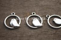 40pcs-- Bird Charms, Antique Silver Bird in Swing Charm Pendants 20mm